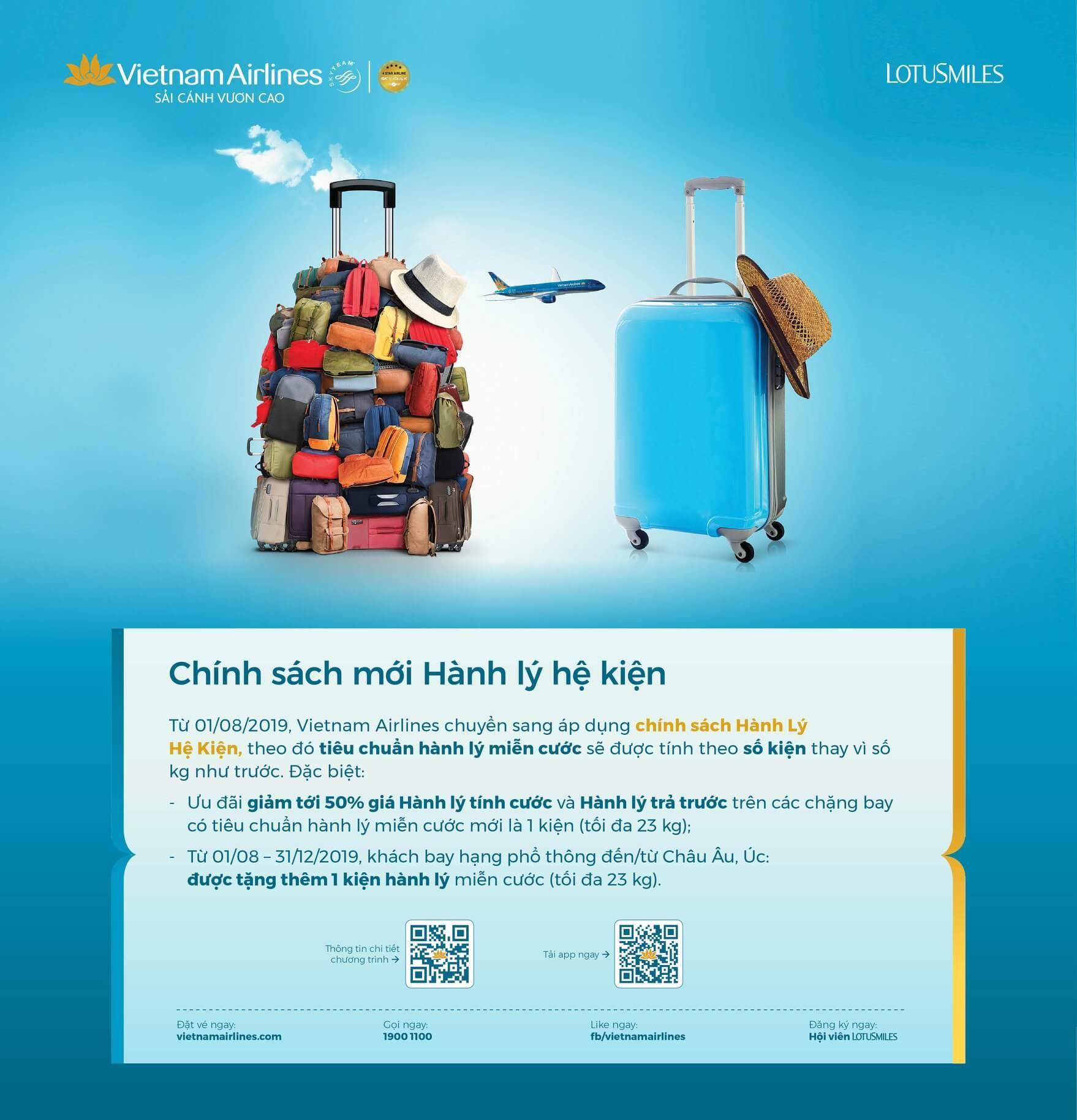 Vietnam Airlines chính thức chuyển sang chính sách hành lý hệ kiện