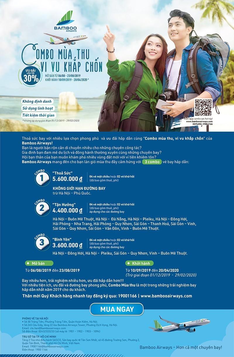 """Bamboo Airways và ưu đãi """"Combo mùa thu - vi vu khắp chốn"""""""